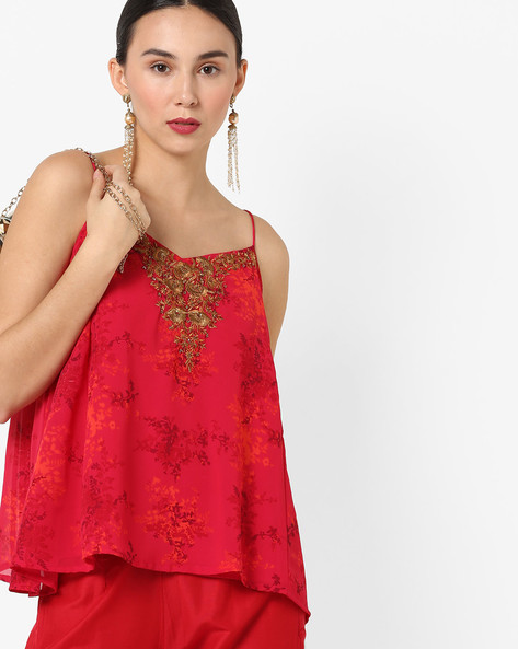 Floral Print Strappy Tunic With Embroidery By AJIO ( Wine )
