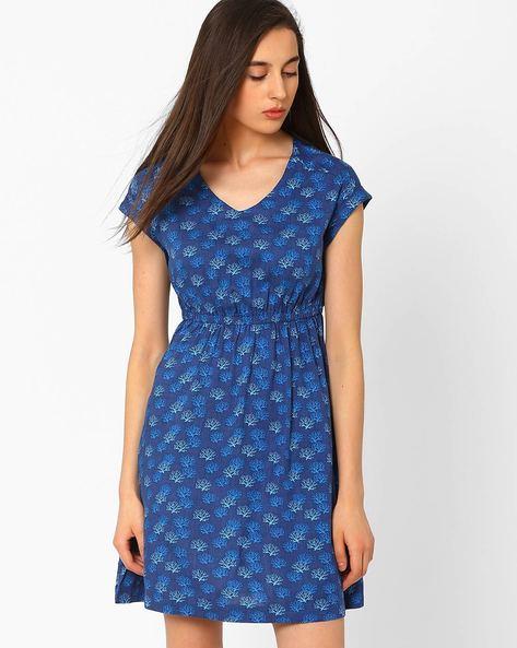 Printed Fit & Flare Dress By CHM ( Dkaqua )