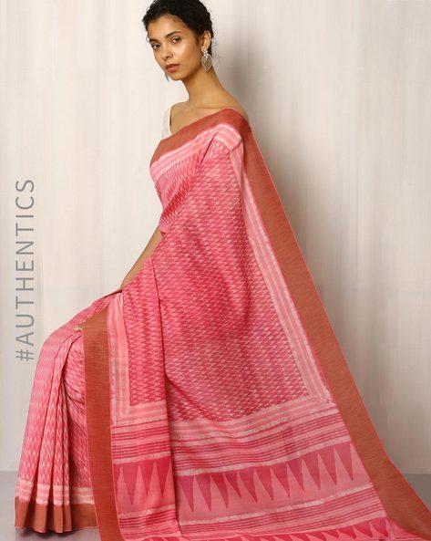 Bagru Print Chanderi Saree With Ghicha Border By Indie Picks ( Pink )