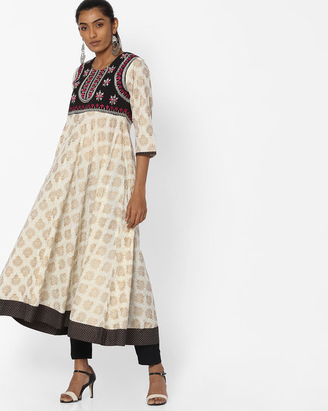 Printed Midi Dress With Embroidered Yoke By Jiyaa ( Offwhite )