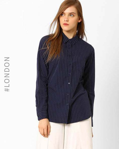 Striped Relaxed Work Shirt By Marks & Spencer ( Navyblue )