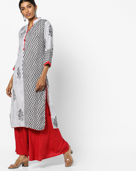 Printed Kurta With Contrast Hems By SOCH ( Grey )