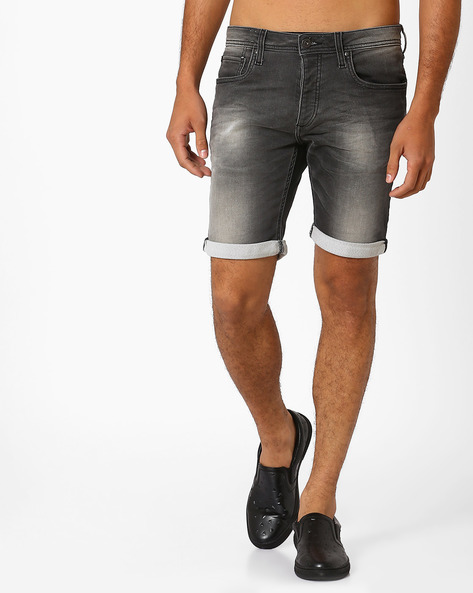 Slim Fit Low-Rise Denim Shorts By Jack & Jones ( Grey )