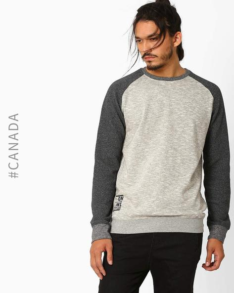 Slim Fit Sweatshirt With Raglan Sleeves By Point Zero ( Grey )