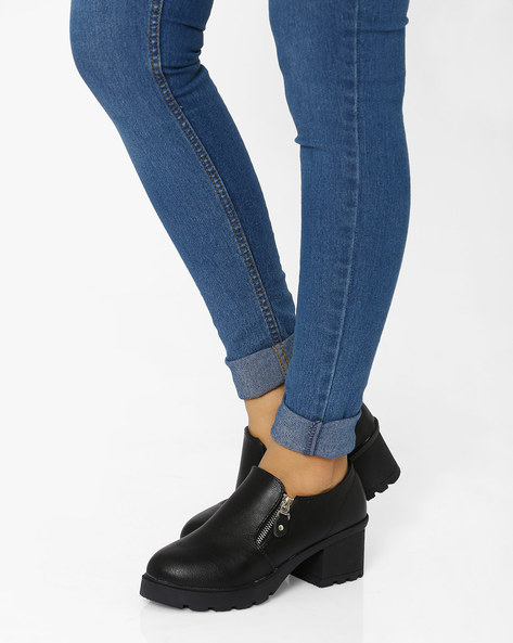 Boots With Metallic Zip By MFT Couture ( Black )