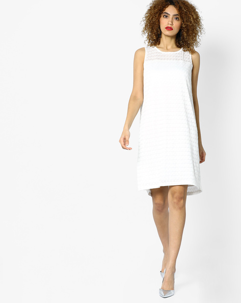Knitted Shift Dress By AJIO ( Offwhite )