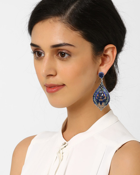 Stone-Studded Dangler Earrings By AJIO ( Blue )