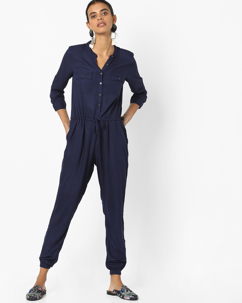 Jumpsuit With Button Placket By Fame Forever By Lifestyle ( Navy )