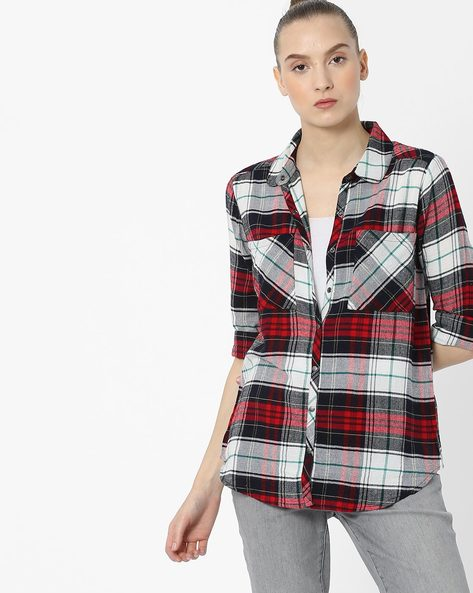 Checked Shirt With Patch Pockets By Ginger By Lifestyle ( Offwhite )