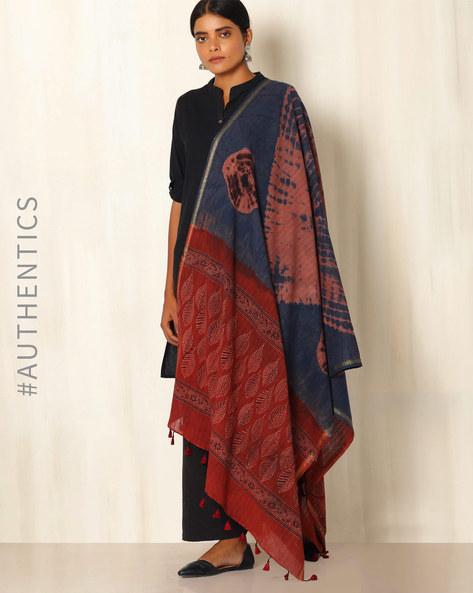 Ajrak Handblock Print Shibori Cotton Dupatta By Indie Picks ( Indigo ) - 460045115001