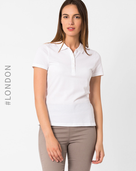 Pique Polo T-shirt By Marks & Spencer ( White )