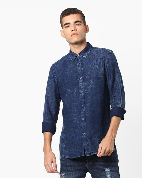 Slim Fit Shirt With Self-Design By Jack & Jones ( Blue )