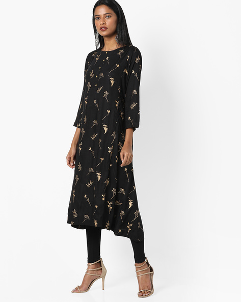 Printed Kurta With Asymmetric Hemline By Project Eve IW Casual ( Black )