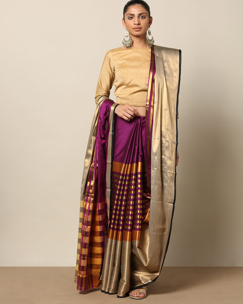 South Cotton Striped Saree With Zari By Indie Picks ( Purple )