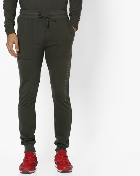 Joggers With Elasticated Waistband By PROLINE ( Olive )