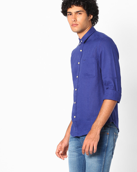 Slim Fit Linen Shirt By Pepe Jeans ( Blue )