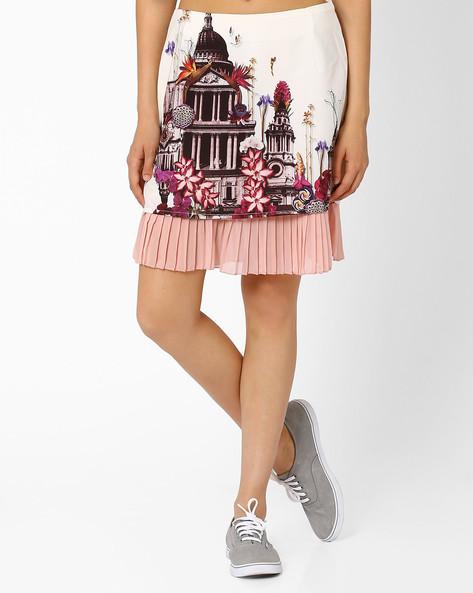 Printed Layered Skirt By AJIO ( Offwhite )