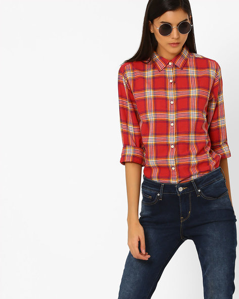 Checked Shirt With Curved Hem By Pepe Jeans ( Red )