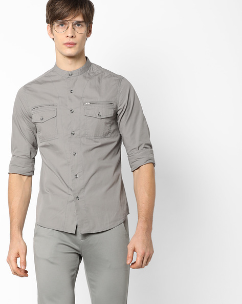 Slim Fit Shirt With Band Collar By AJIO ( Grey )