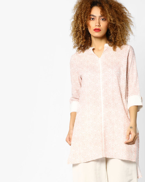 Printed Tunic With High-Low Hemline By AJIO ( Pink )
