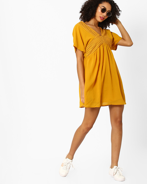 Fit & Flare Dress With Eyelet Panels By Rena Love ( Mustard )