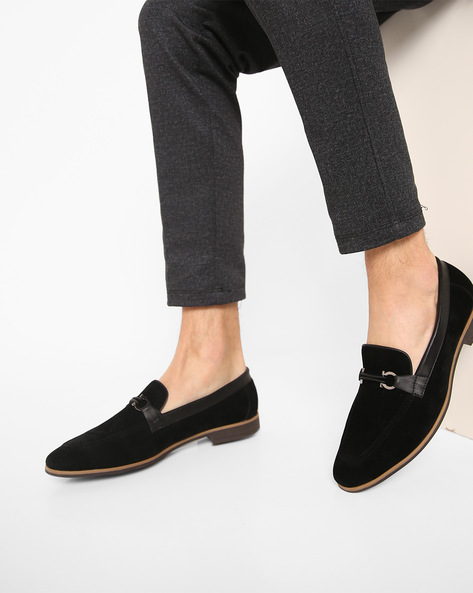 Slip-On Shoes With Stacked Heels By Modello Domani ( Black ) - 460165689004