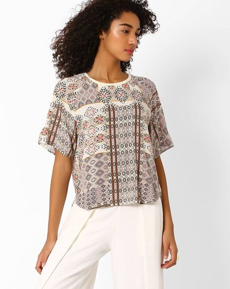 Printed High-Low Top By Only ( White )
