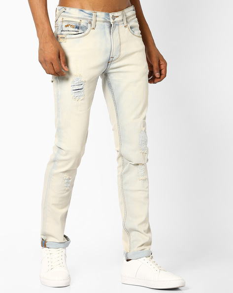Slim Fit Jeans With Threadbare Patches By Pepe Jeans ( Indigo )