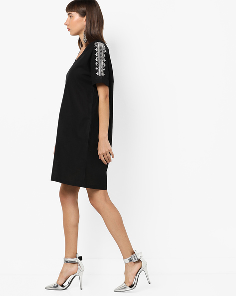 Shift Dress With Embroidered Sleeves By AJIO ( Black )