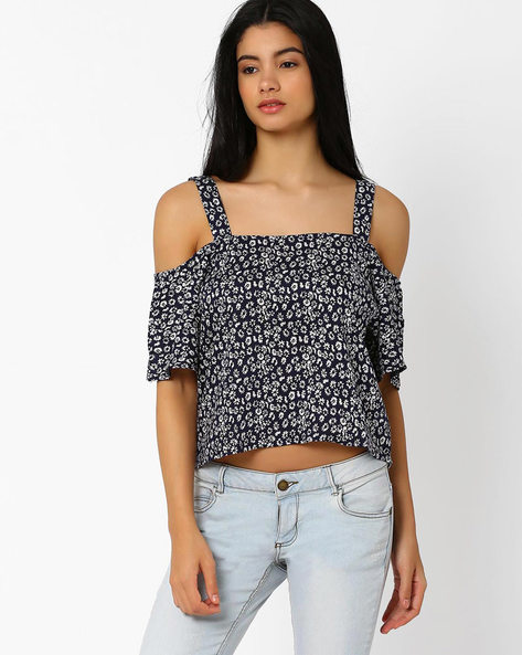 Floral Print Top With Cold-Shoulder Sleeves By ANONYMOUS CO ( Brtmulti )
