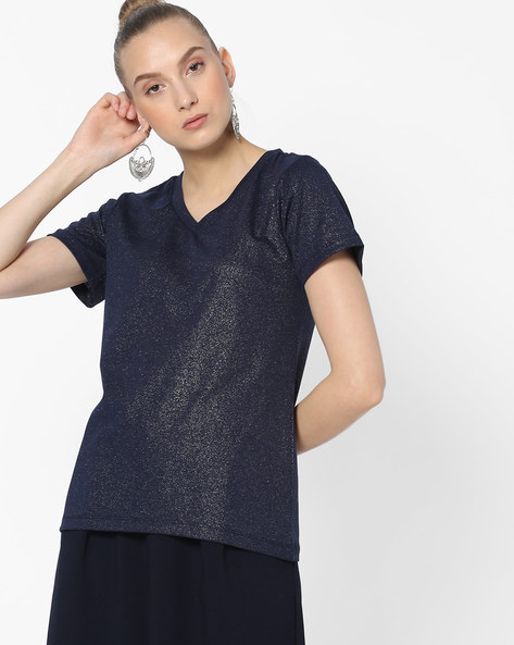 Shimmery V-neck Top By FIG ( Navy )
