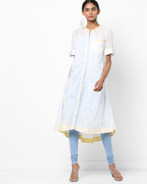 Embroidered A-line Kurta With Pockets By Biba ( Offwhite )