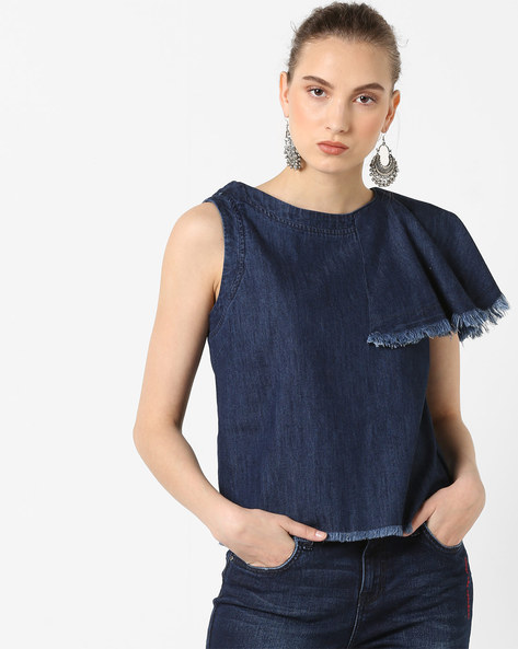 Denim Crop Top With Frayed Ruffle By AJIO ( Blue )