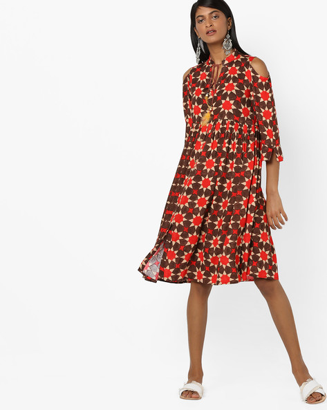 Printed A-line Dress With Cold Shoulder By Aujjessa ( Brown )