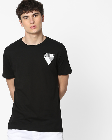Crew-Neck T-shirt With Brand Print By Puma ( Black )