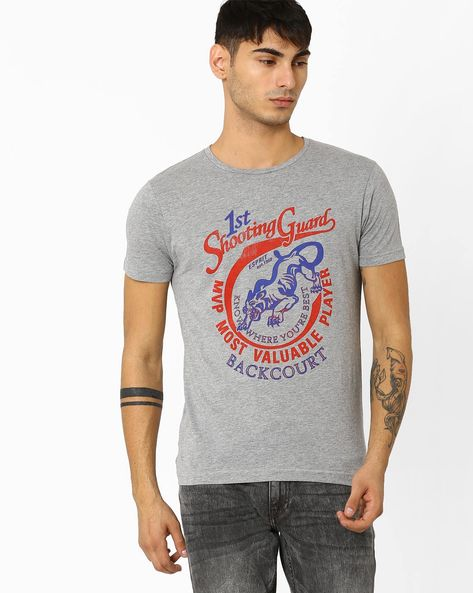 Slim Fit Crew-Neck T-shirt By ADAMO LONDON ( Greymelange )