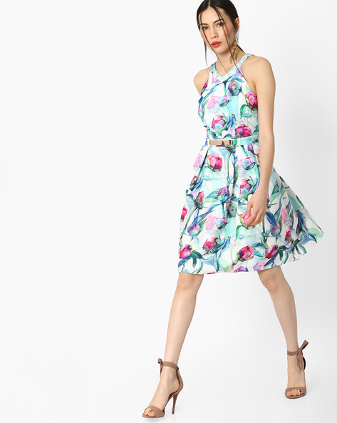 Floral Print Dress By AJIO ( Blue )