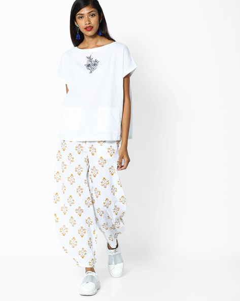 Embroidered Top With Floral Print Pants By AJIO ( White )