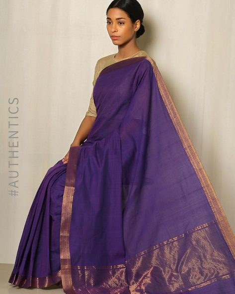 Handwoven Mangalgiri Cotton Saree With Zari Border By Indie Picks ( Blue )