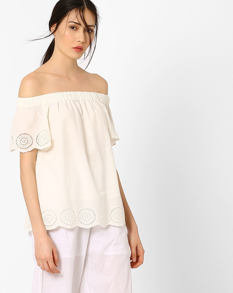 Off-Shoulder Top With Schiffli Embroidery By AJIO ( Offwhite )