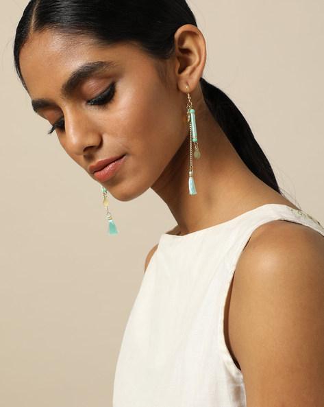 Beaded Dangler Earrings With Tassels By Indie Picks ( Blue ) - 460189691001