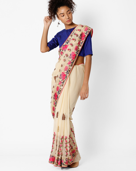 Floral Embroidered Saree By Amori ( Beige )