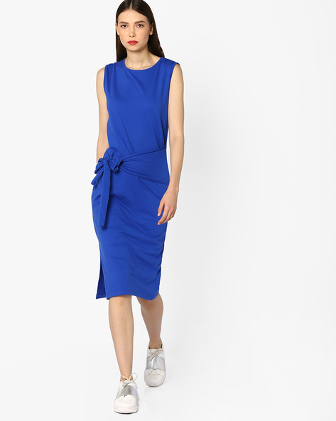 Sleeveless Jersey Dress With Tie-Up By AJIO ( Blue )