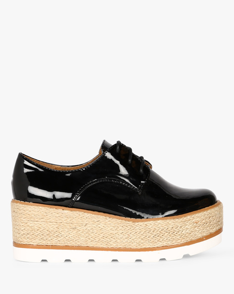 Patent Leather Platform Heeled Shoes By Truffle Collection ( Black )