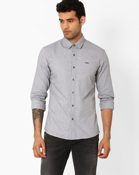 Slim Fit Shirt With Spread-Collar By WRANGLER ( Gray )