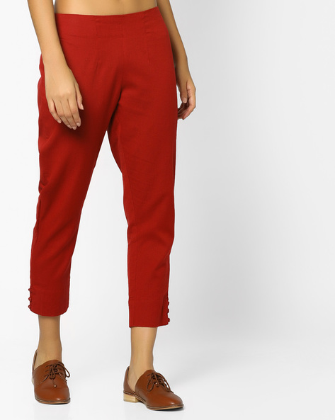 Cropped Pants With Elasticated Waist By AJIO ( Maroon )