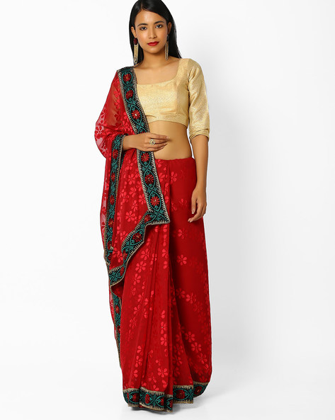 Brasso Saree With Embroidered Border By Majestic Silk ( Maroon )