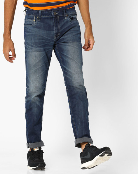 Lightly Washed Slim Denims By Jack & Jones ( Blue )