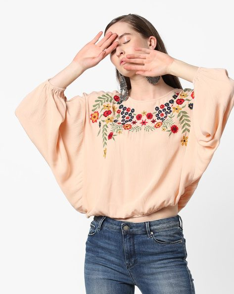 Batwing-Sleeve Blouson Top With Floral Embroidery By Rena Love ( Pink )