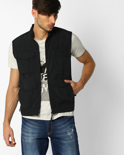 Slim Fit Jacket With Utility Pockets By DNM X ( Black )